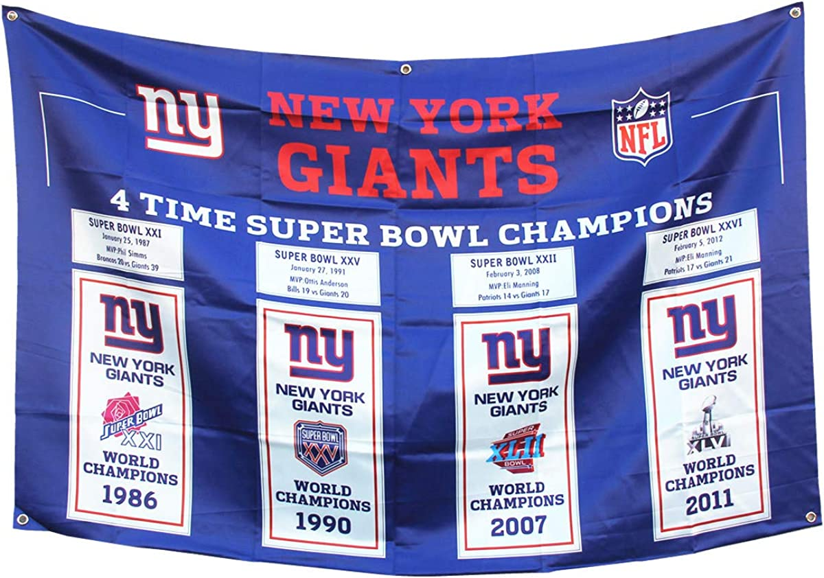 4 in 1 'New York 'Giants Mens 3x5 Flag Super Bowl 4 time Championship Super Bowls Champions Gifts for Youth Kids Womens Banner Outdoor/Indoor Garden Flags