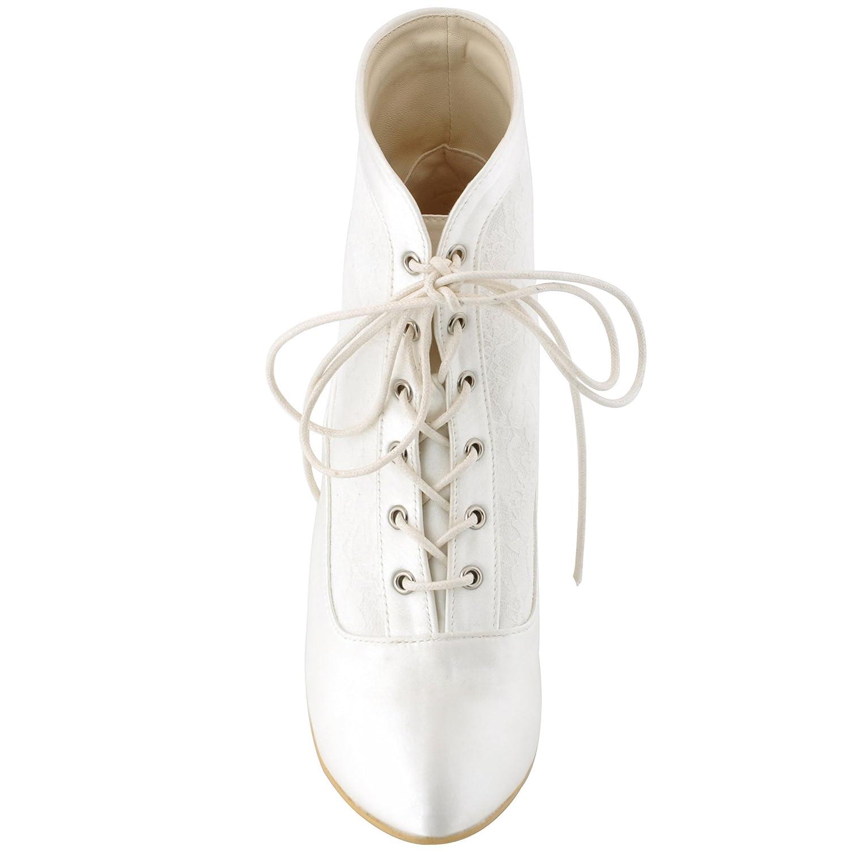 ElegantPark Women Closed Toe Chunky Heel Lace Up Satin Lace Wedding Bridal Boots B012NBEA9U 5 B(M) US|Ivory
