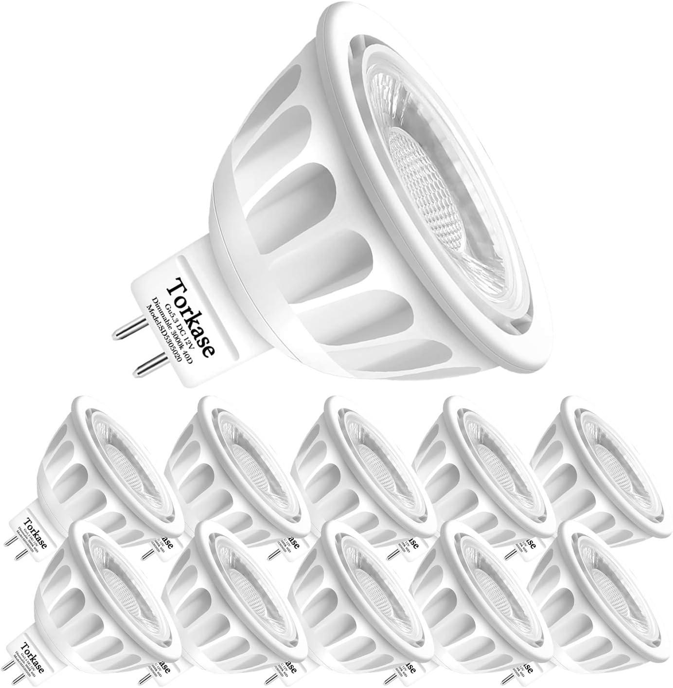 10 Pack Dimmable MR16 LED Bulbs, 5-Watt (50-Watt Equivalent), 3000-Kelvin Warm White, GU5.3 Bi-Pin Base, 40-Degree, DC 12-Volt Indoor/Outdoor Landscape Spot Lighting Bulbs by Torkase
