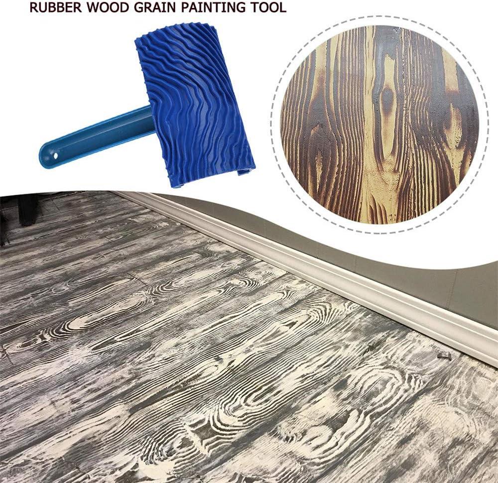 Pinceau mural en caoutchouc avec manche en plastique et brosse en caoutchouc Motif en relief Bleu
