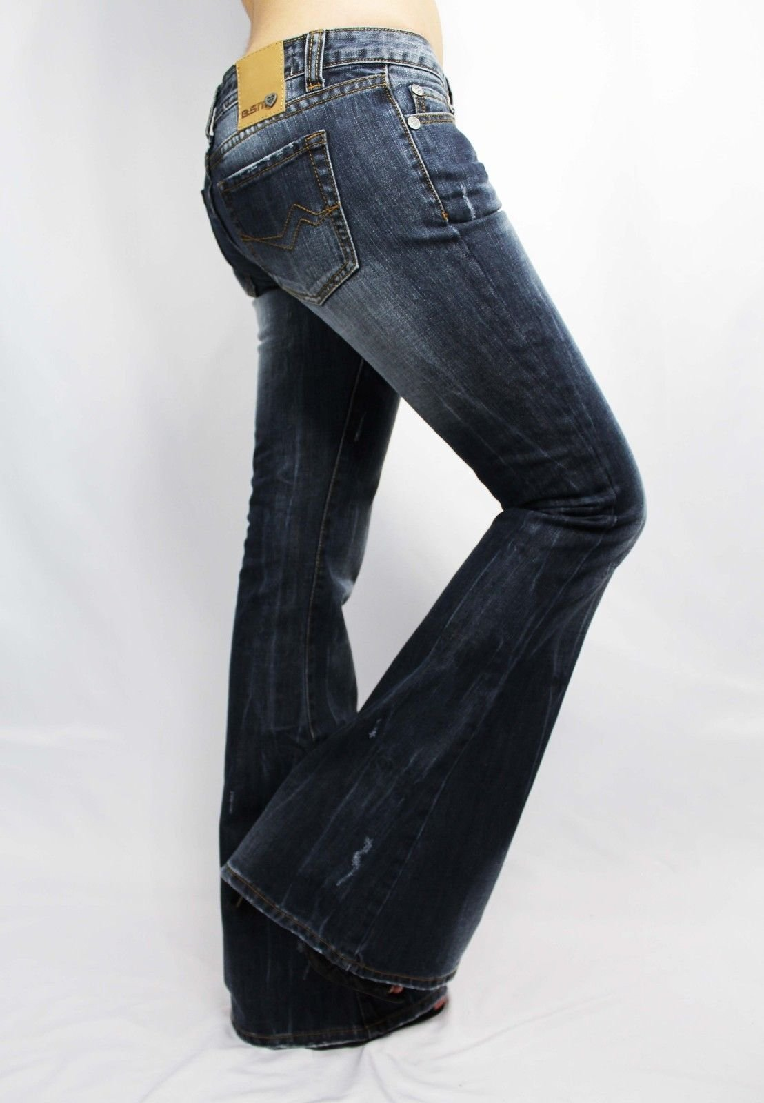 Jeans Women's Jeans Slim Boot Jeans in Medium Wash Faded Distressed Low Rise Boot Cut Jeans for Women US28 Run Small