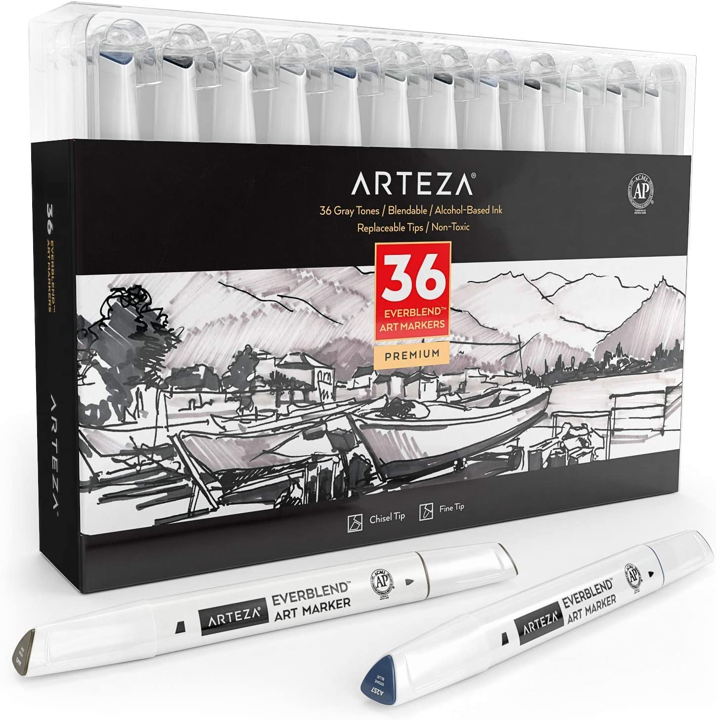 Alcohol Based Sketch Markers with Dual Tips for Painting Coloring Sketching and Drawing Set of 36 Colors Fine and Broad Chisel ARTEZA Everblend Gray Tone Art Markers