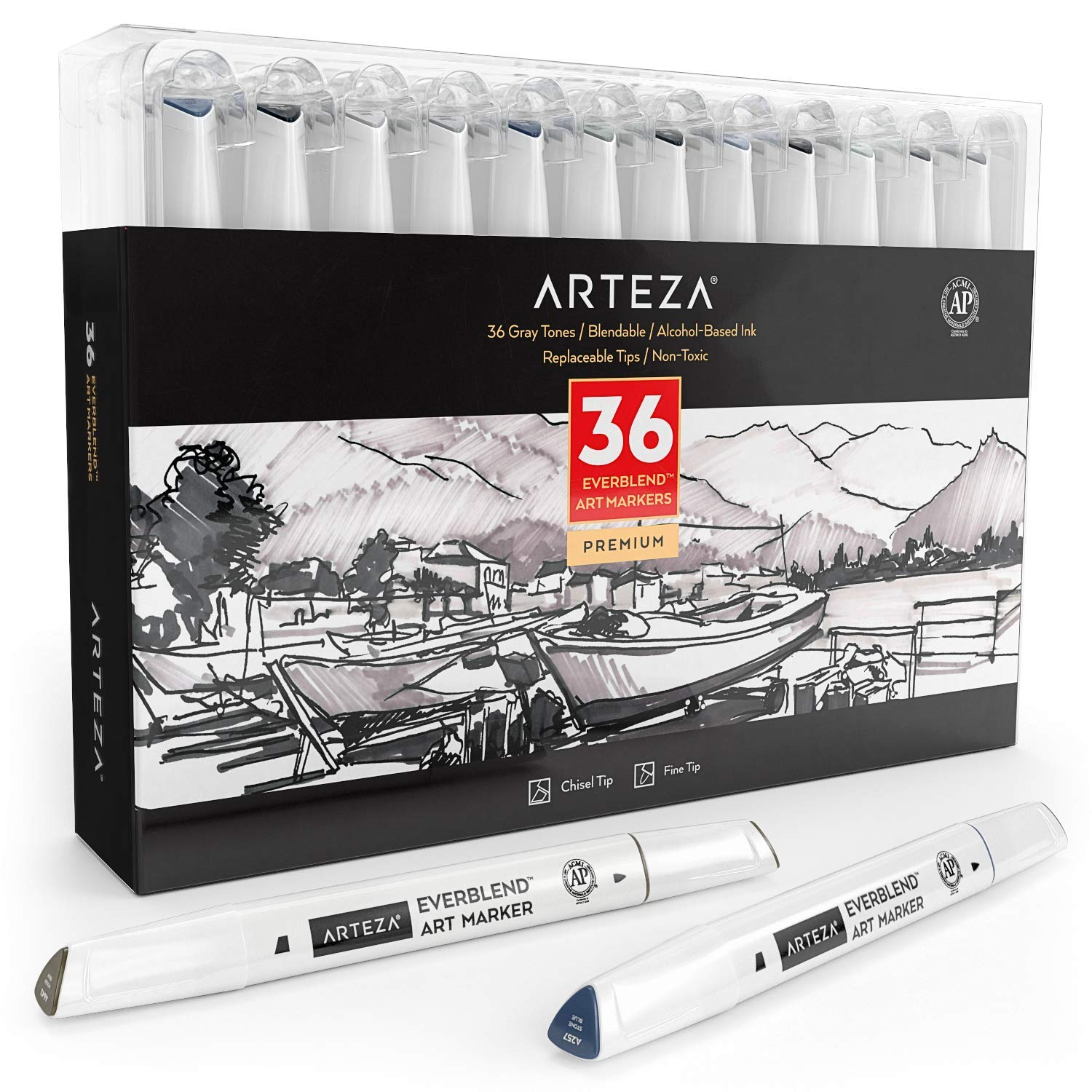 ARTEZA Everblend Gray Tone Art Markers, Set of 36 Colors, Alcohol Based Sketch Markers with Dual Tips (Fine and Broad Chisel) for Painting, Coloring, Sketching and Drawing