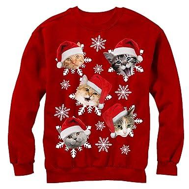 Christmas Cat Sweater.Men S Ugly Christmas Sweater Cat Snowflakes Sweatshirt