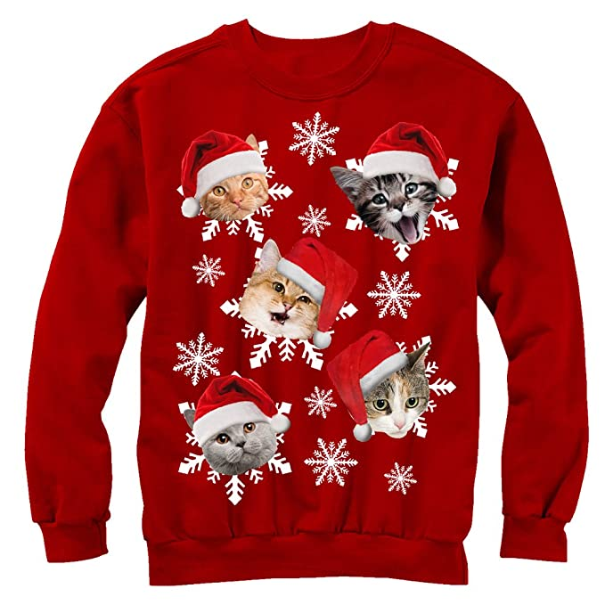 Ugly Christmas Sweater Cat.Men S Ugly Christmas Sweater Cat Snowflakes Sweatshirt