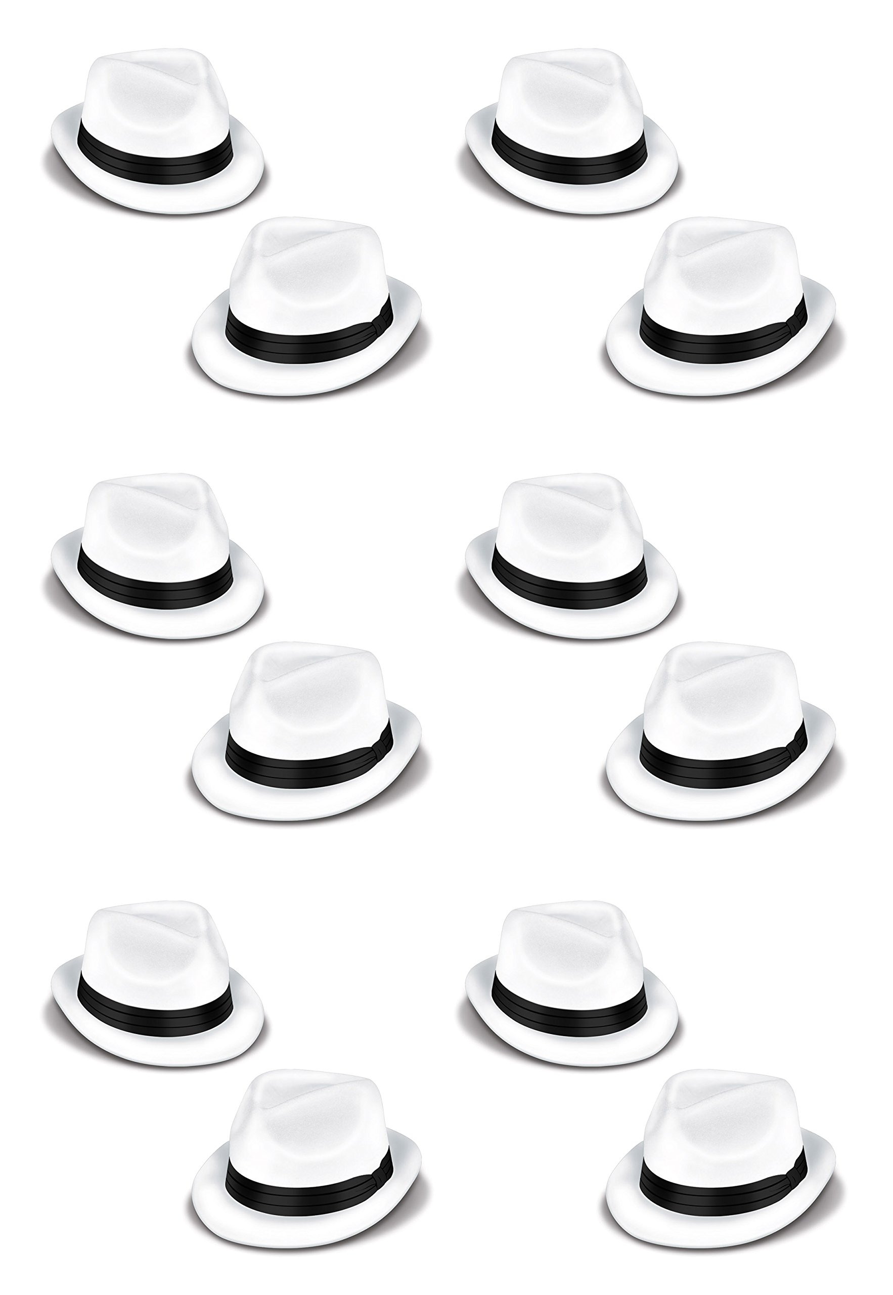 Beistle 60339-25 Velour Havana Chairman Hats, One Size Fits Most, White/Black, 12 Piece Pack by Beistle