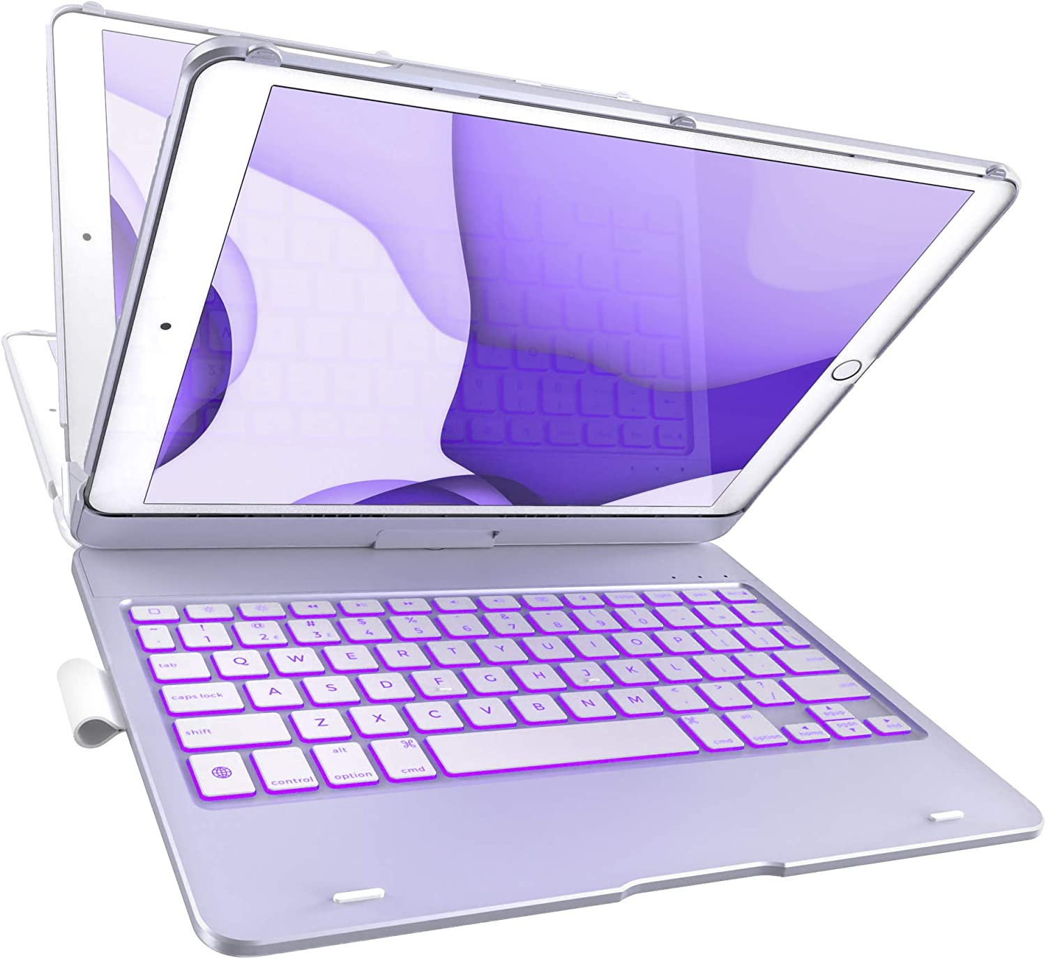 iPad 8th Gen (10.2-inch, 2020) Keyboard Case - 7th Gen, Air 3, Pro 10.5 Compatible - 10 Color Backlight, 7 Modes/360° Rotatable, Slim Protective Cover with Apple Pencil Holder (Purple)