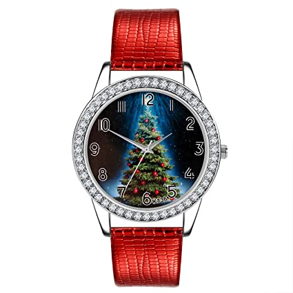 Amazon.com : LtrottedJ Women Watch Christmas Diamond Leather ...