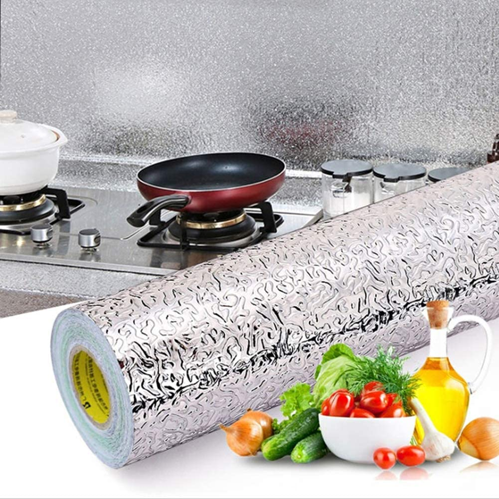 """Livelynine 15.8""""x394"""" Kitchen Wallpaper Peel and Stick Backsplash for Kitchen Stick on Backsplash Wall Paper Decorations Oil Proof Self Adhesive Shelf Liners Aluminum Foil Backdrop"""