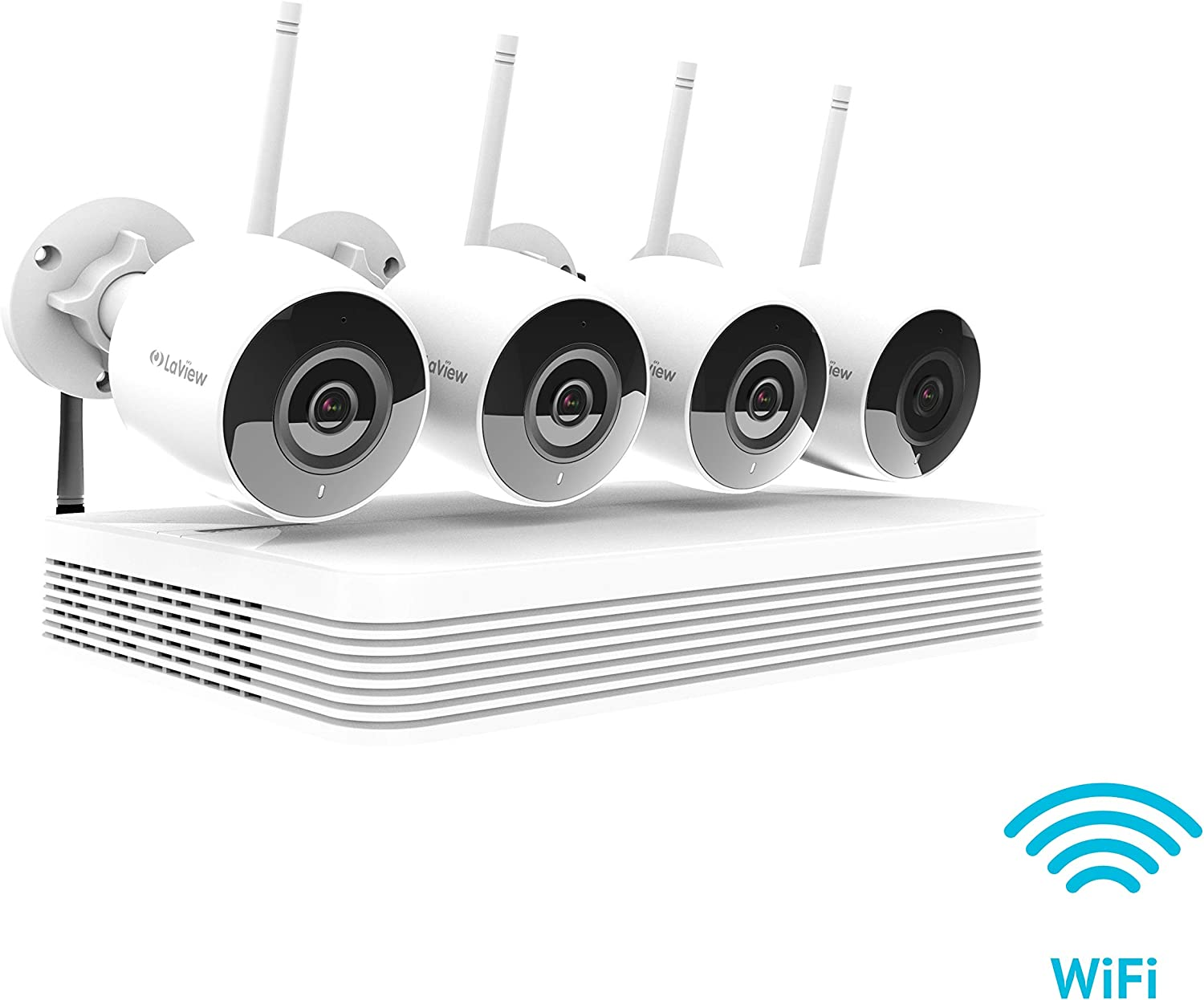 LaView Wireless Wi-Fi 8CH HD 1080P Security CCTV Surveillance System – Four 2MP Wireless Wi-Fi Indoor Outdoor IP Cameras, IR LED Night Vision, 150ft Wi-Fi Range, Mobile Alerts