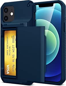 TITACUTE Compatible with iPhone 12 Pro Case iPhone 12 Case Wallet 4 Credit Card Holder Slot Sliding Cover 2-Layer Heavy Duty Full-Body Protection Hybrid Bumper Case for iPhone 12 12 Pro 6.1 Navy Blue