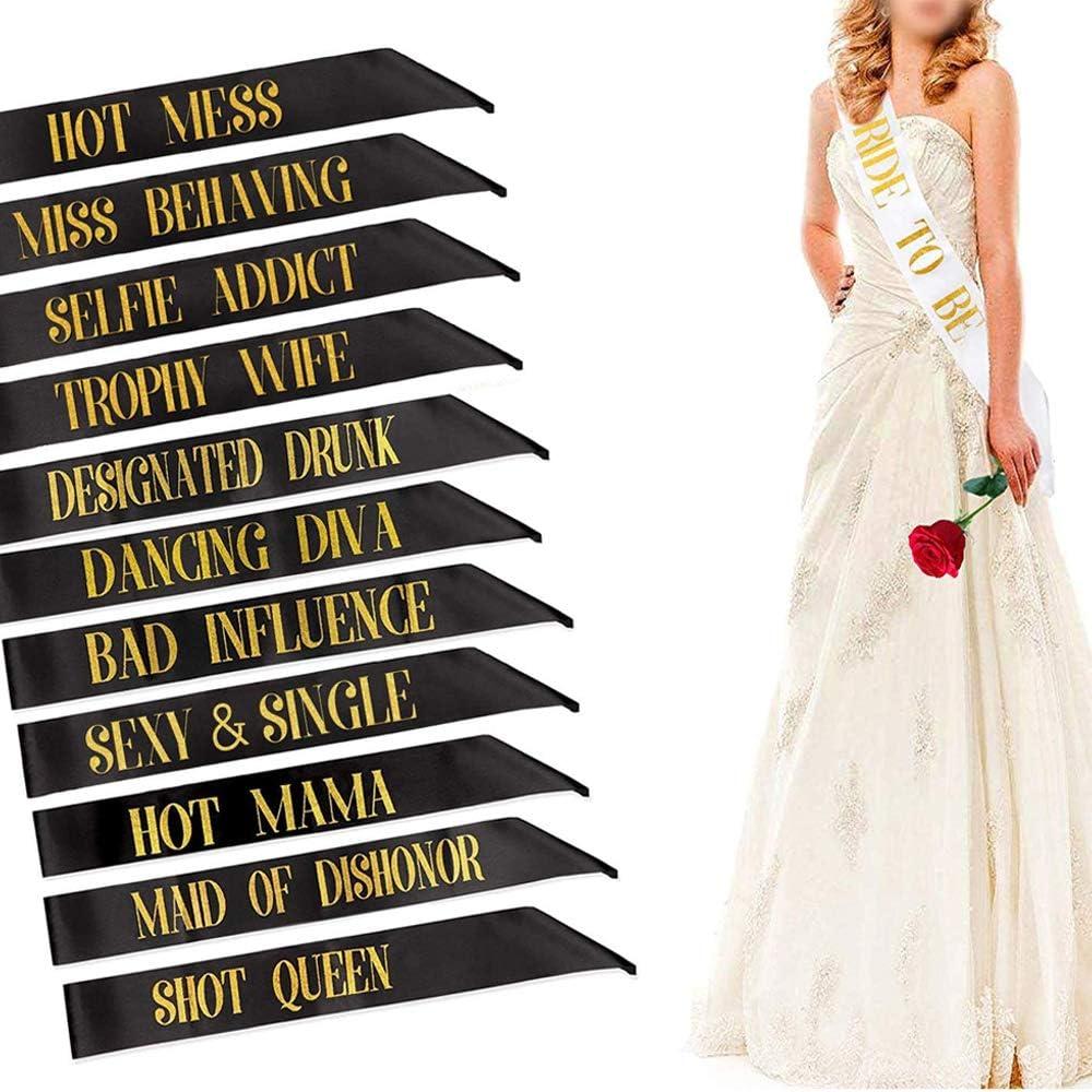f/ür M/ädchen Henne Nacht Brautdusche Hochzeit Bachelorette Party Zubeh/ör 1 Braut Sch/ärpe 11 Team Braut Sch/ärpe 12 St/ück Sch/ärpen Junggesellinnenabschied Braut Sch/ärpe Bride Tribe Sch/ärpen