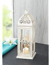 Baroque Style Metal Lantern, White