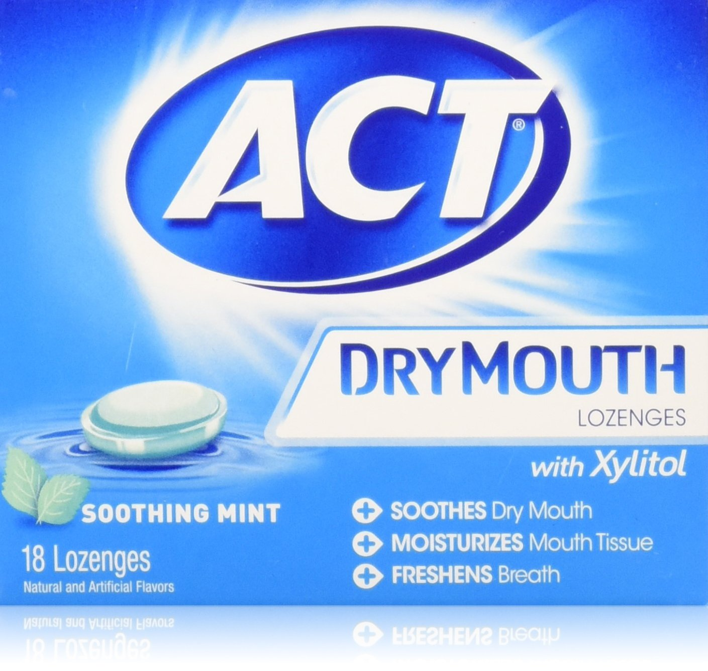ACT Dry Mouth Soothing Mint Lozenges 18 ea (Pack of 3) CHATTEM INC