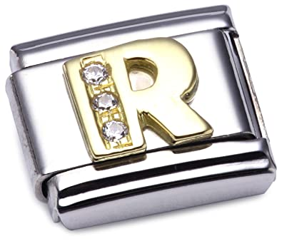 Nomination Composable Classic Letter R Stainless Steel and 18K Gold MHLkxTq