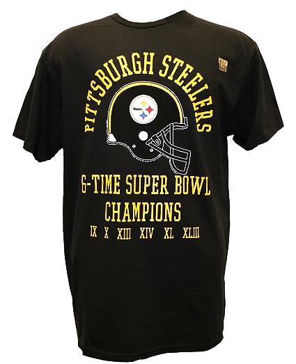 8edee88d Amazon.com : G-III Sports NFL 6 Time Super Bowl Champ T-Shirt (Black ...
