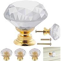 12 st kristallknoppar gyllene bas, tydliga skåpknoppar, diamantslipade dörrknoppar, levereras med två typer av skruvar…