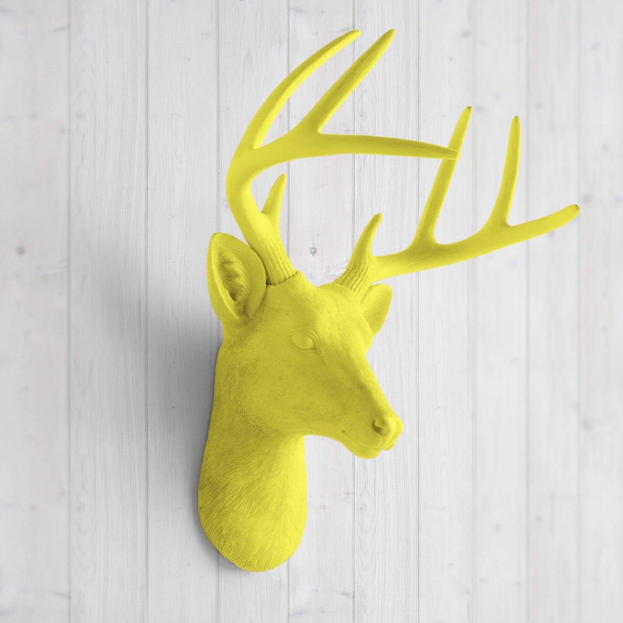 Amazon.com: Deer Head by Wall Charmers | Yellow Faux Head Mount ...