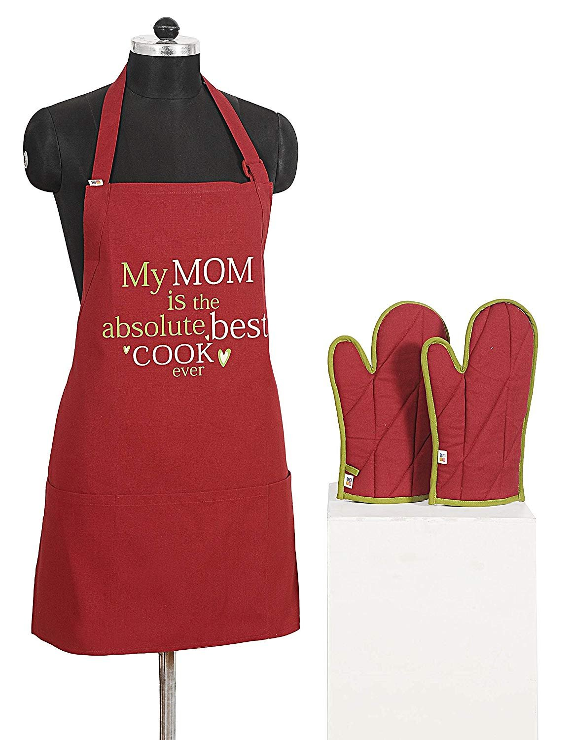 Cotton Kitchen Chef Apron with 3 Pockets & Oven Mitts gloves Set - Adjustable Neck Strap & Waist Ties - Graphic Screen Print - Women Gifts Apron for Cooking