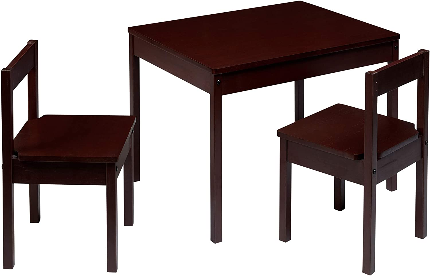 AmazonBasics Solid Wood Kiddie Table Set with Two Chairs, Espresso