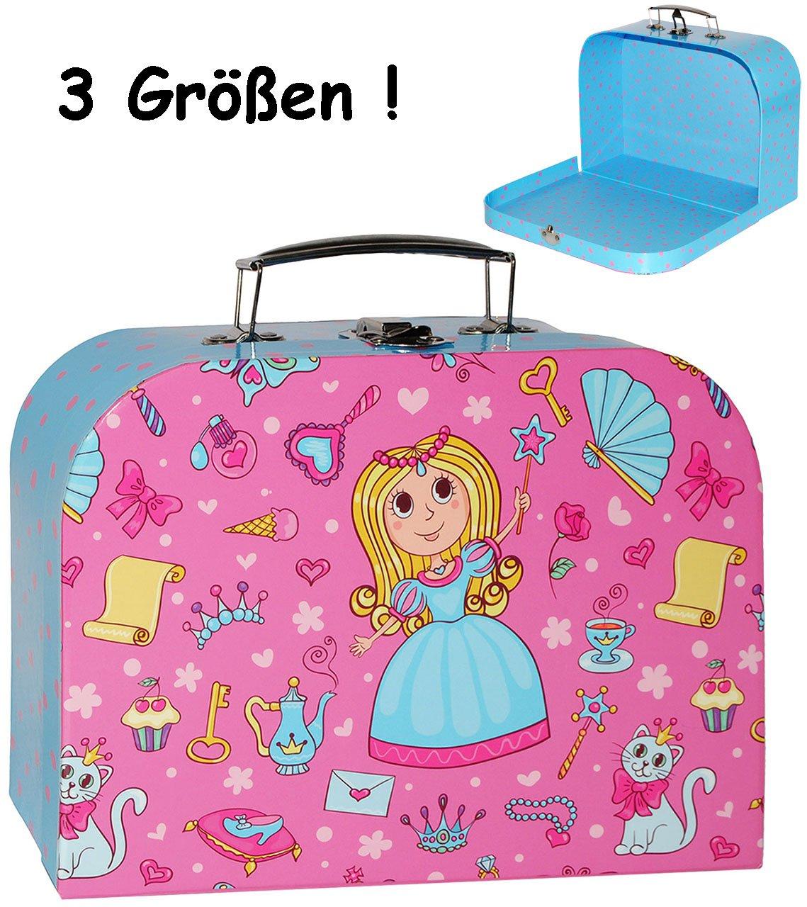 alles-meine.de GmbH 3 TLG. Set _ Kinderkoffer / Koffer - in 3 Verschiedenen Größen - Prinzessin & Herzen - rosa / pink - incl. Name - Kofferset - ideal für Spielzeug und als ..