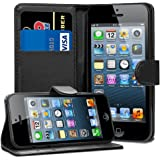 Gaplus ® Flip Case Slim Tasche Cover Etui mit Kartenfächern für Apple iPhone, inkl. Displayschutzfolie inkl. Reinigungstuch und Stylus-Eingabestift, Black Wallet, iPone 5/5S