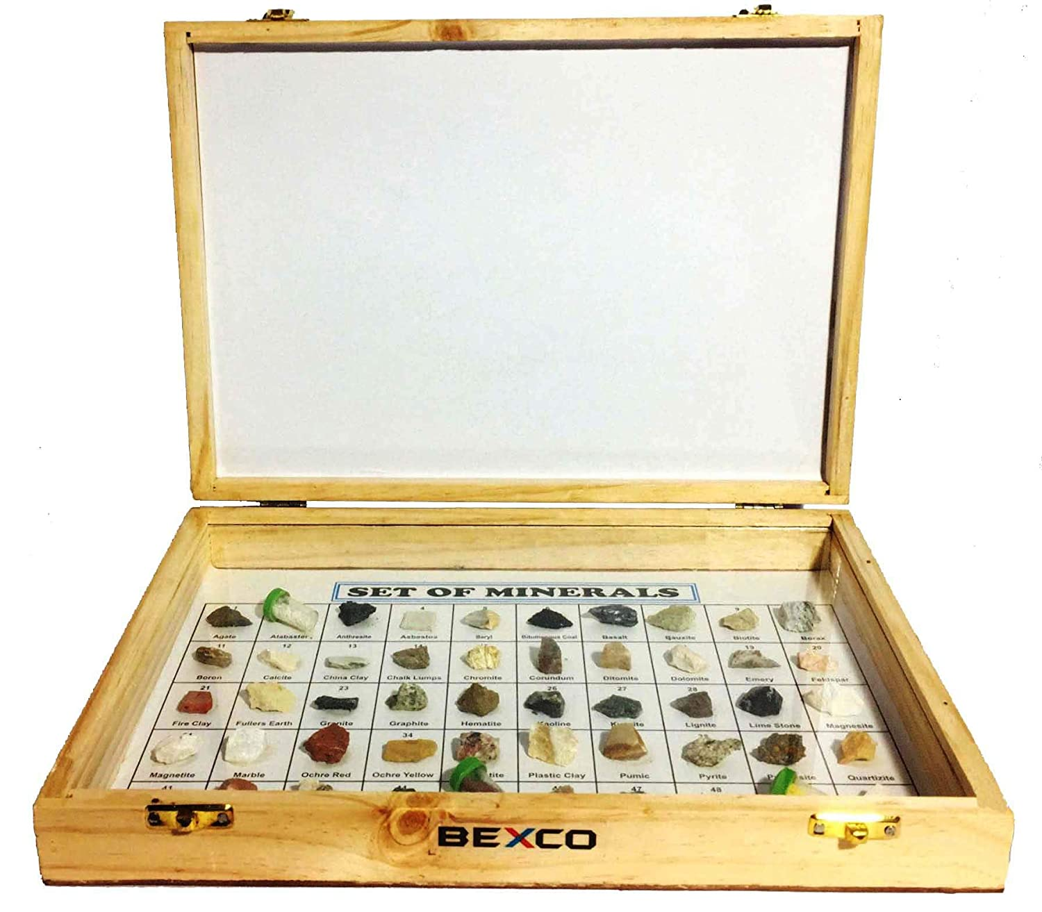 BEXCO New Collection of 50 Minerals Specimen in Wooden Showcase Box