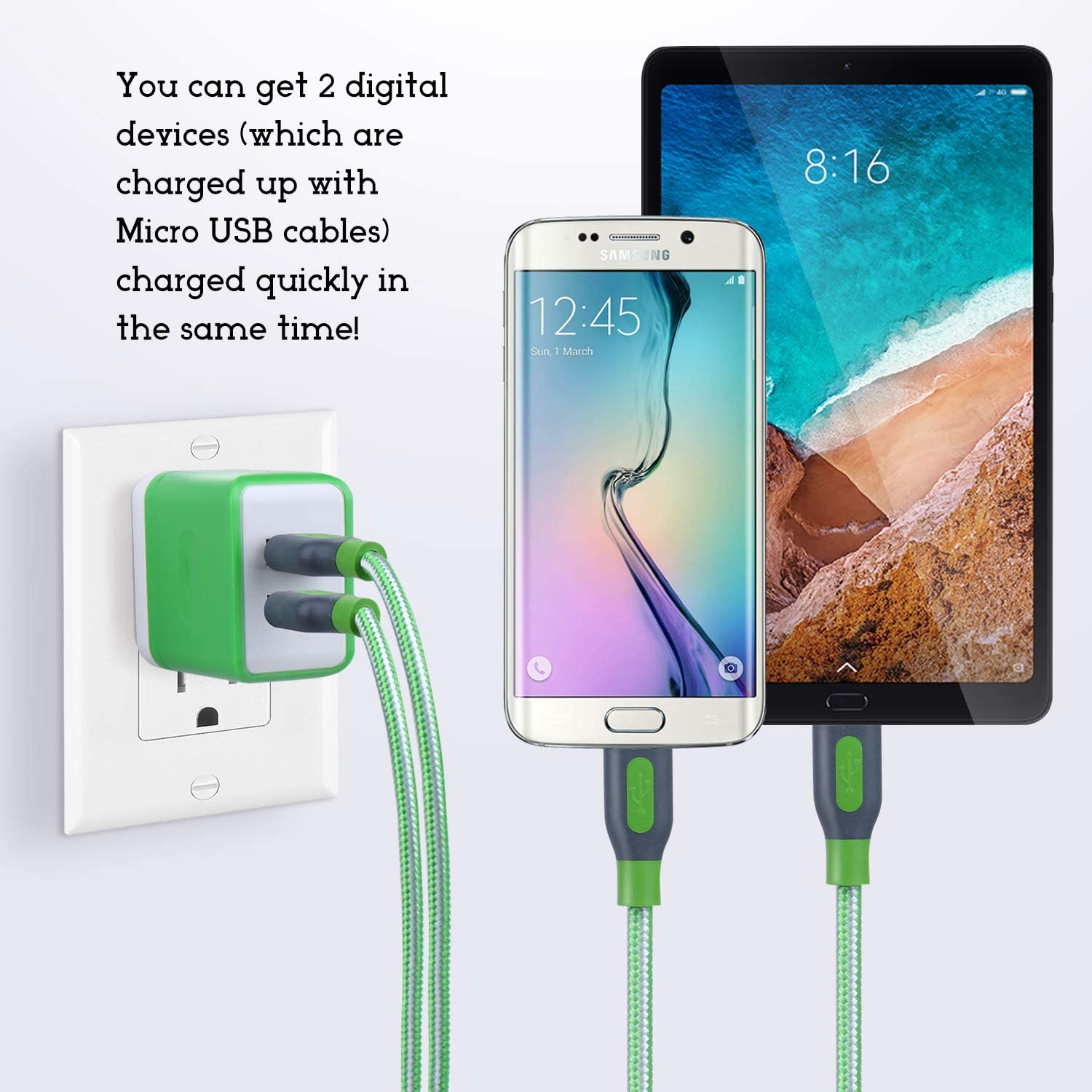Table Costyle Wall Charger Micro USB Cable Kit 3.1 Amp Dual 2 Port Home Travel Charging Plug with 2 Pack 6ft Nylon Braided Sync Charge Cord Compatible for Samsung Galaxy S7 Android Devices Pink