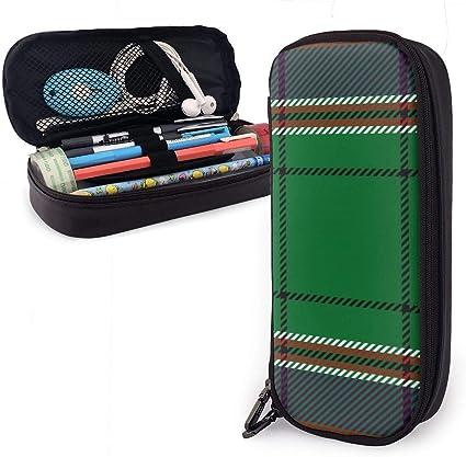 MacFarlane Hunting Tartan Leather Estuche para lápices Estuche para lapiceros con cremallera Material escolar para estudiantes Caja de papelería de gran capacidad: Amazon.es: Oficina y papelería