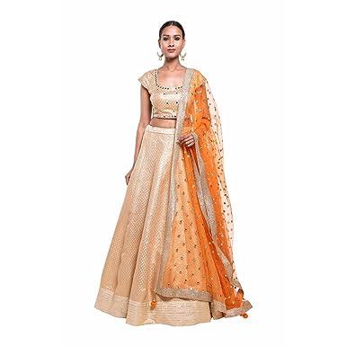 34775f3bcb Pushp Paridhan Wedding Wear Traditional Ethnic Wear Mirror Work,With Hand  Work Gold Lehenga Choli Set For Women: Amazon.in: Clothing & Accessories