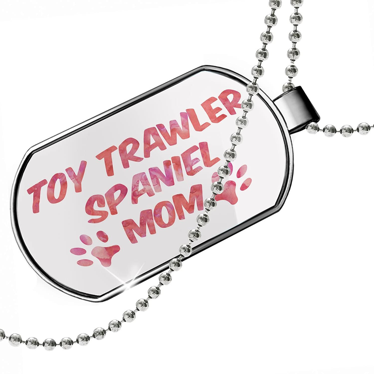NEONBLOND Personalized Name Engraved Dog /& Cat Mom Toy Trawler Spaniel Dogtag Necklace