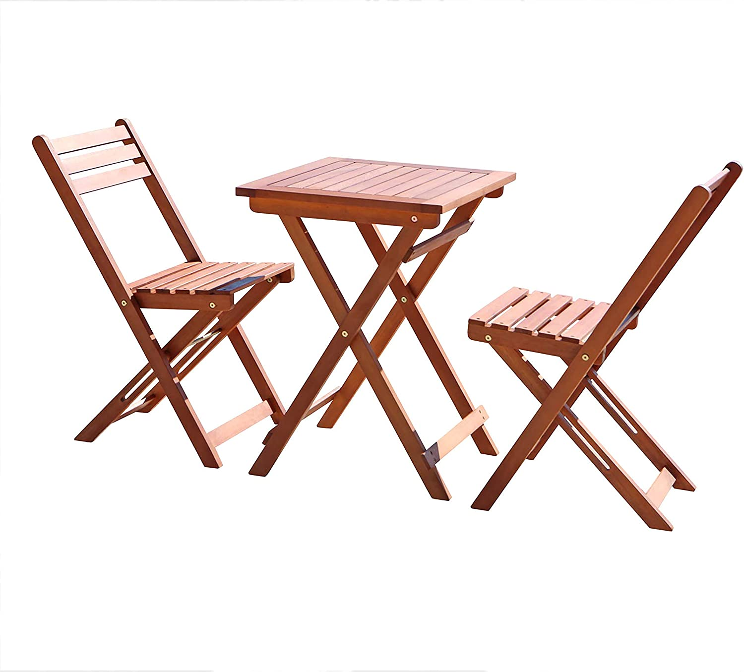 Vifah V1381 Outdoor Wood Folding Bistro Set with Square Table and Two Chairs