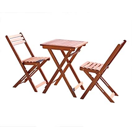 Folding Wood Patio Chairs.Vifah V1381 Outdoor Wood Folding Bistro Set With Square Table And Two Chairs
