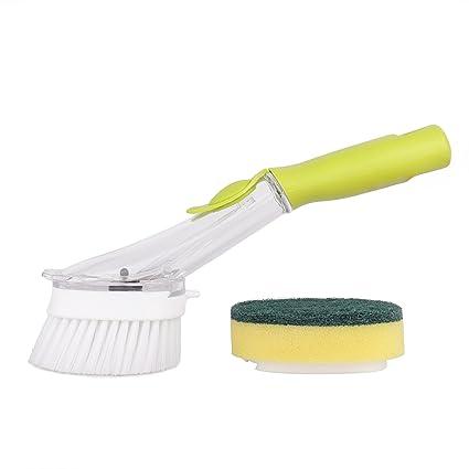 FISHSHOP Cepillo De Limpieza, Cepillo Con Dispensador De Jabón Con El Lavado Líquido y esponja