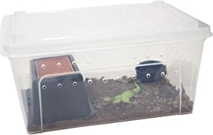 OMEM Portable Reptile Terrarium Habitat and Hideout Box with Sink, to Increase Humidity and Water Supply for Mini Pet Houses
