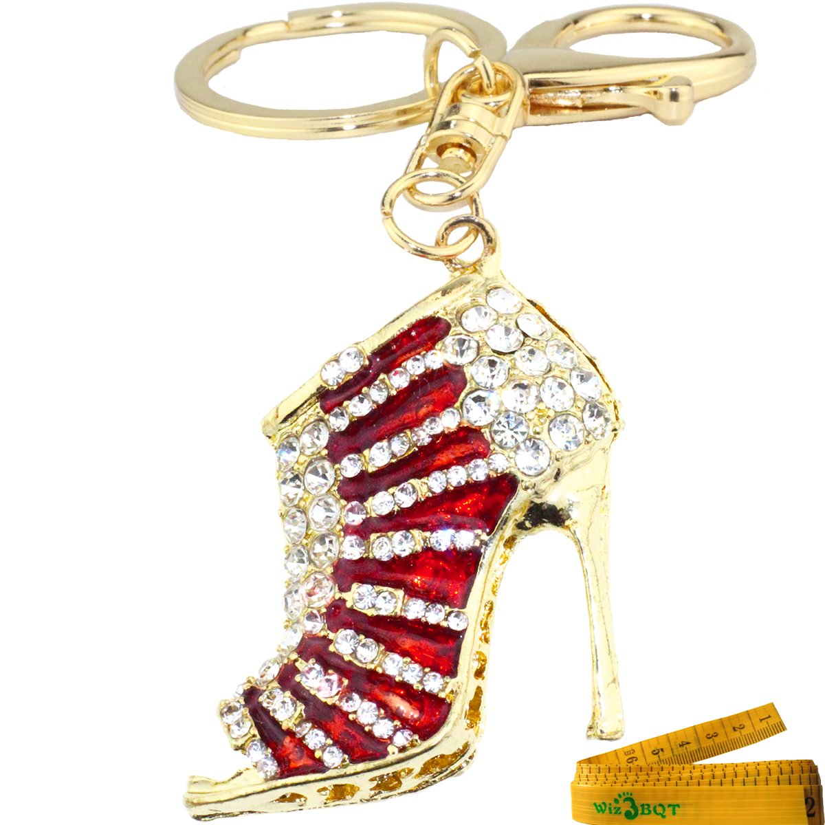 b9eabd4a6 Amazon.com   Bling Bling Sandal Shaped Crystal Rhinestone Enamel Graven 3D  Cubic Metal Keychain Car Phone Purse Bag Decoration Holiday Gift (Red)    Office ...