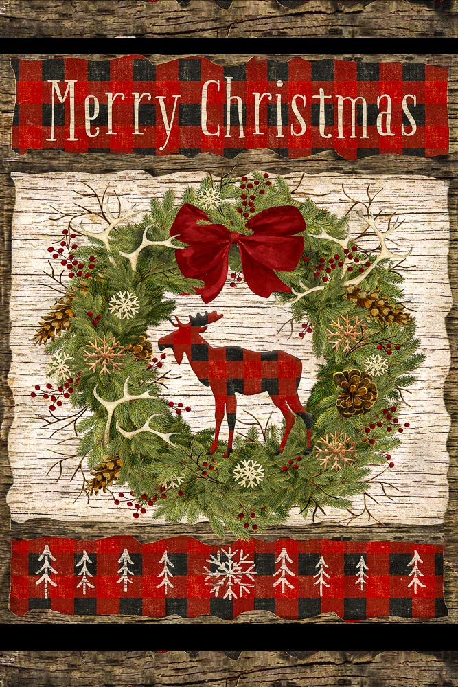 """Merry Christmas Wreath Country Welcome Decorative Garden Flag, Double Sided, 12"""" x 18"""" Inches, Primitive Rustic Garland Moose Laurel Sign Banner"""