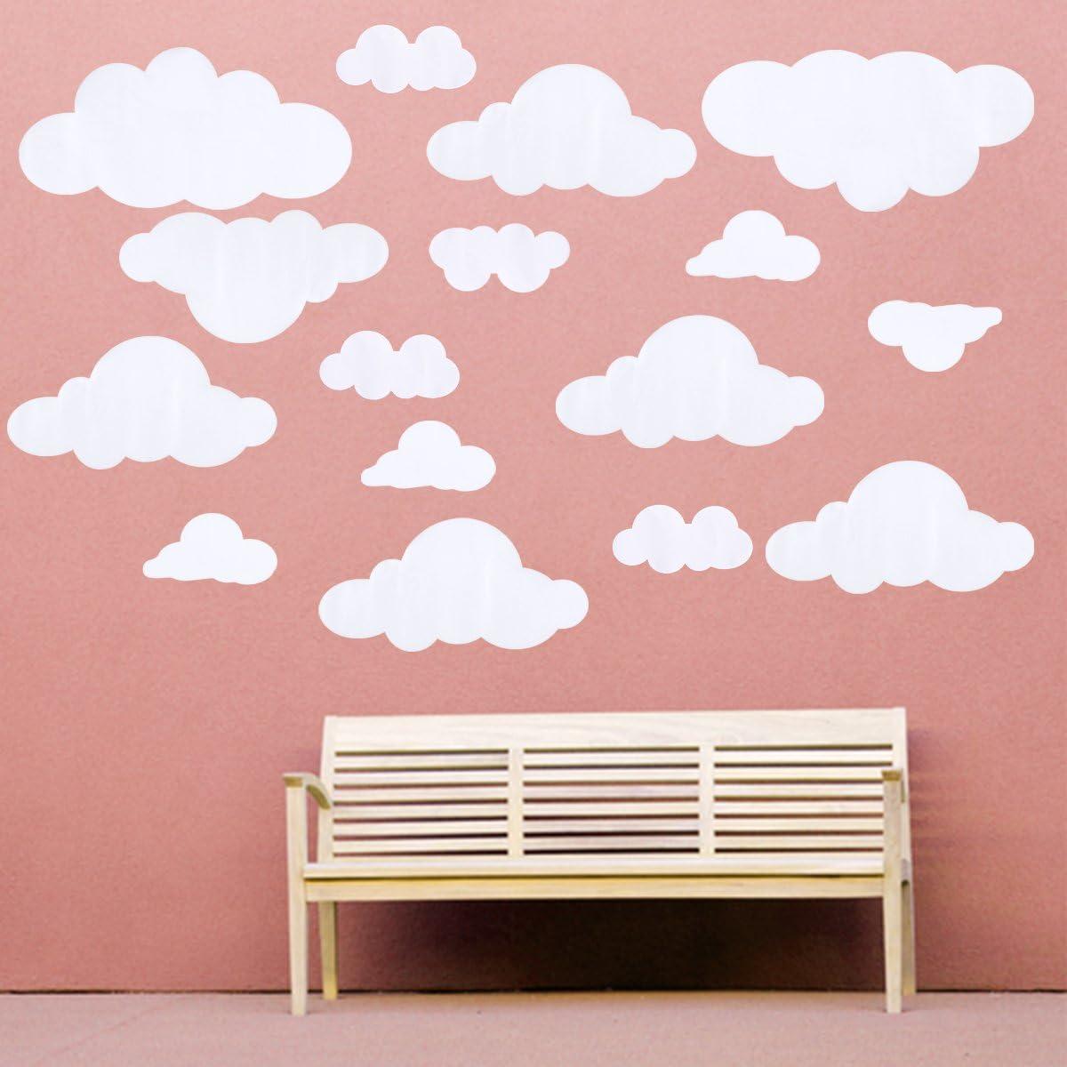 WINOMO 31 pcs Blanc Nuages Ciel Vinyle Stickers Muraux BRICOLAGE Wall Sticker Amovible pour Salon Chambre Nursery Chambre Denfants D/écoration Art Blanc