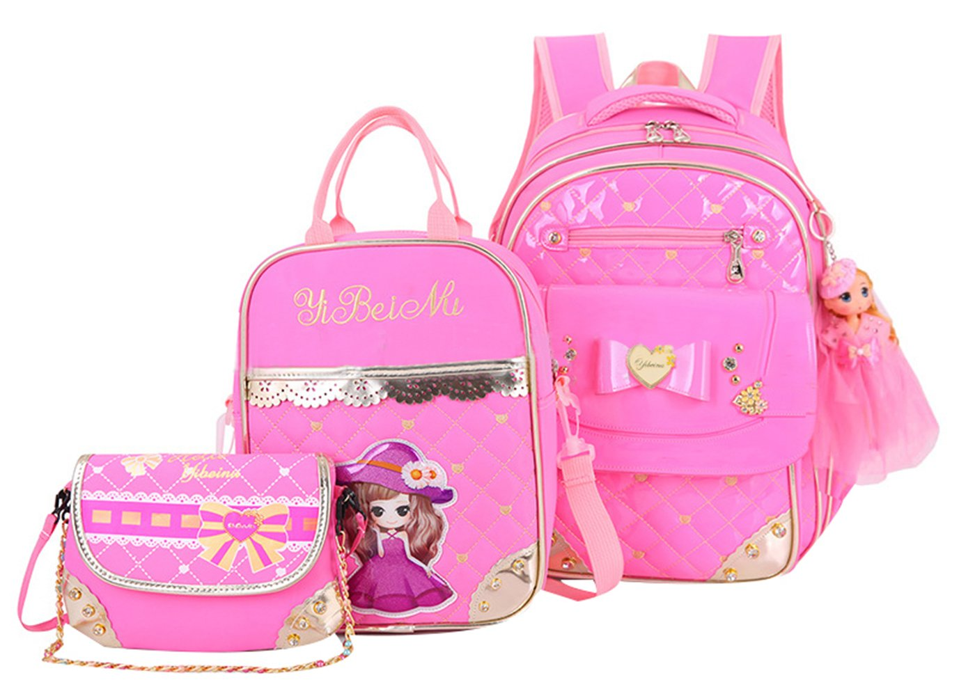 JiaYou Primary Girls Students Polyester School Backpack and Lunch Bag 2 Sets/3 Sets(25L,StyleB Pink3Sets) by JiaYou