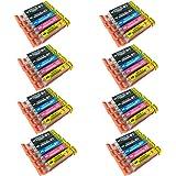 PerfectPrint Compatible Ink Cartridge Replacement for Canon Pixma iP7200 iP7250 iP8750 iX6850 MG5450 MG5550 MG5650 MG6350 MG6450 MG6600 MG6650 MG7150 MG7550 MX725 MX925 550/551 XL (BK/C/M/Y, 40-pack)