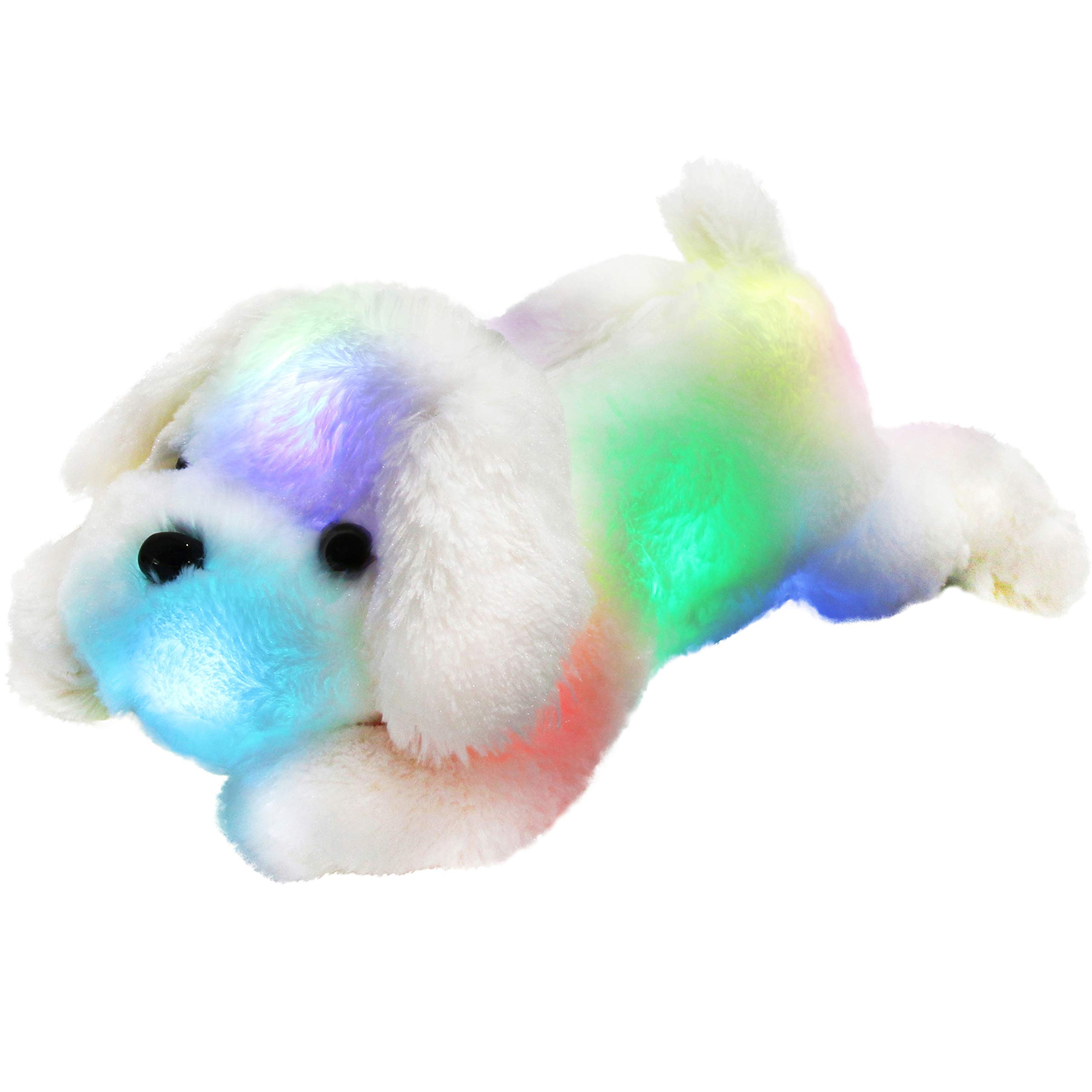 WEWILL LED Puppy Stuffed Animals Creative Night Light Lovely Dog Glow Soft Plush Toys Gifts for Kids on Halloween Christmas, Birthday, 18-Inch (White) by Bstaofy