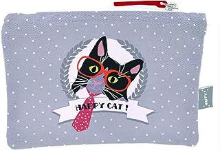Les Trésors De Lily [Q0598] - Trousse Plate Coton 'Happy Cat' (Cravate) - 20x15 cm