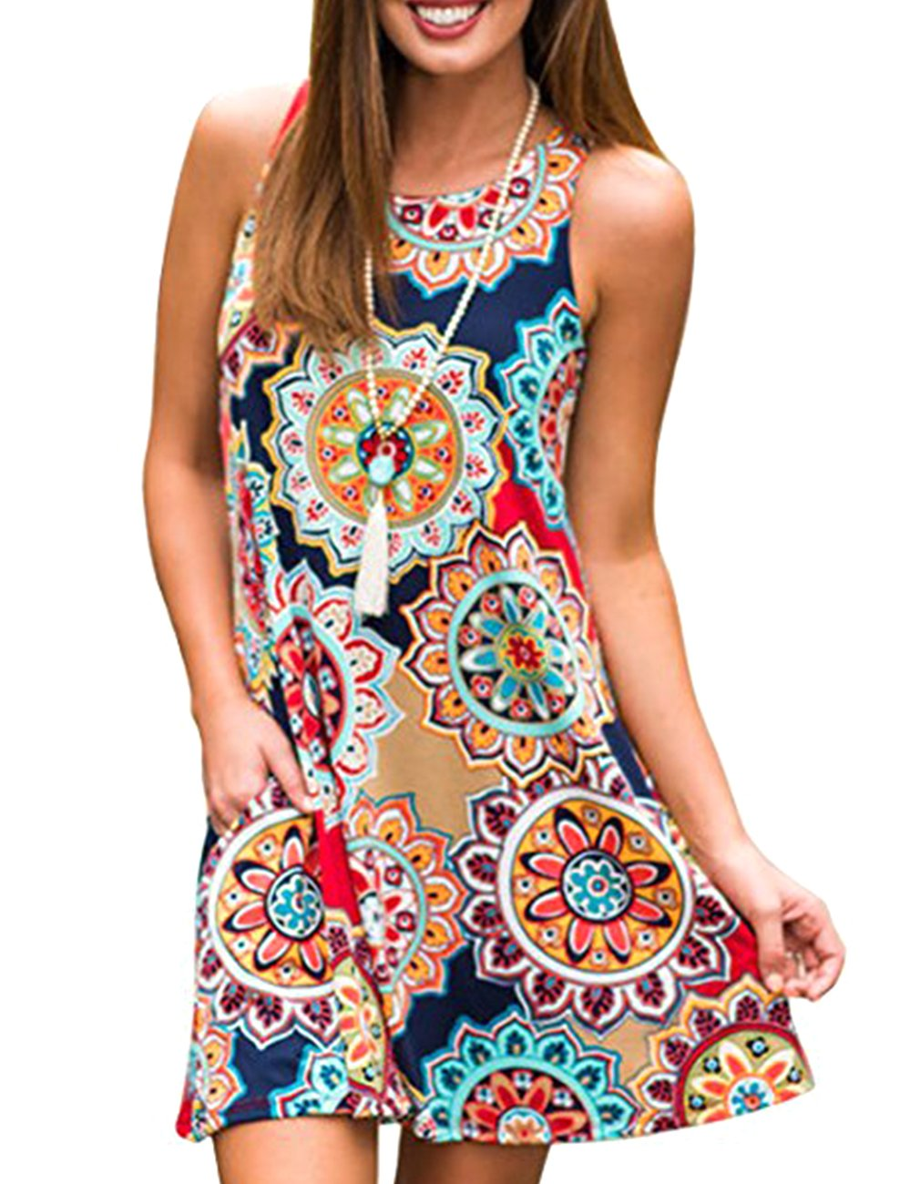 ANDUUNI Womens Summer Short Sleeve Striped Tunic Tops Junior Casual Color Block Tee-Shirt
