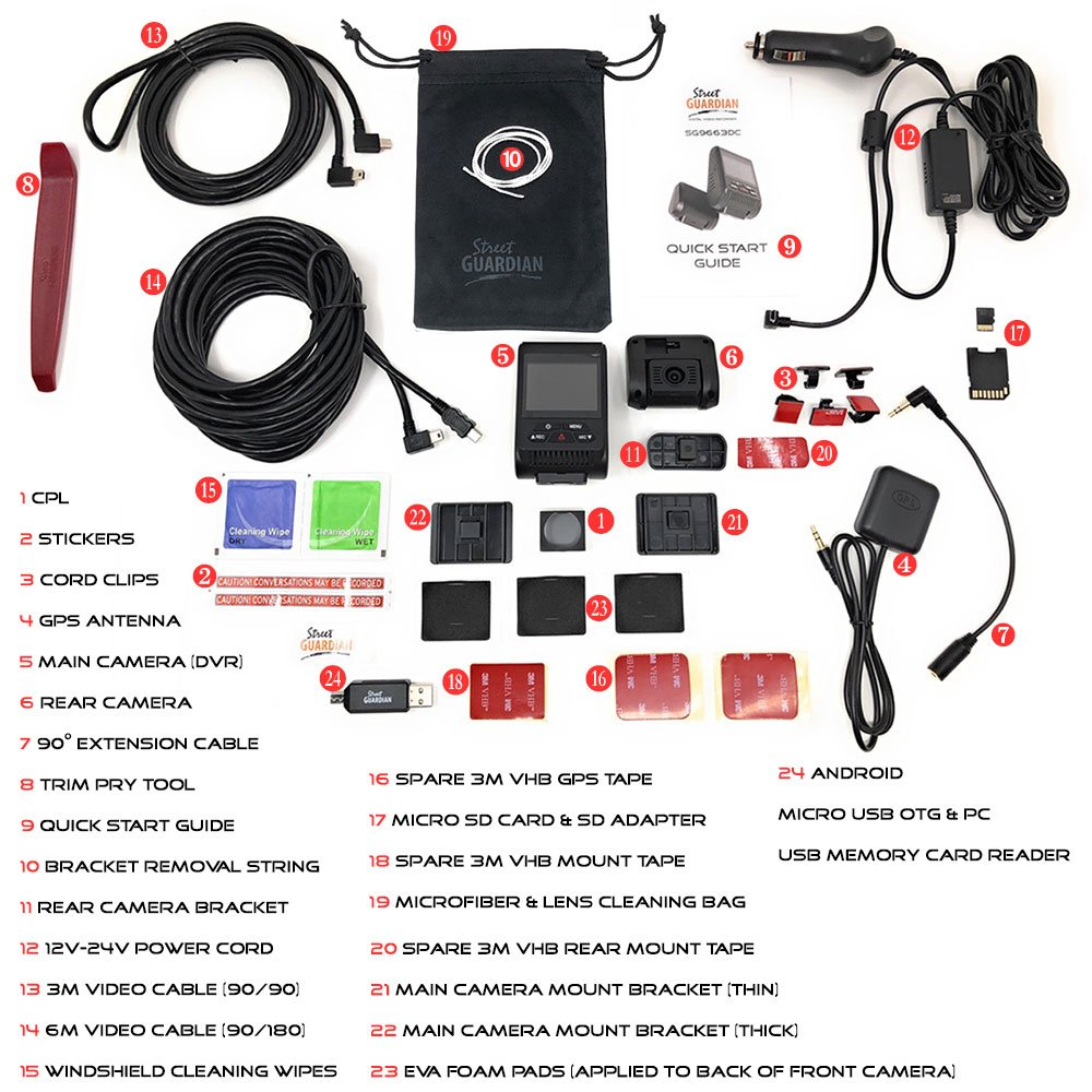 Street Guardian SG9663DC Dual Channel Dash Camera With 64GB MicroSD Card
