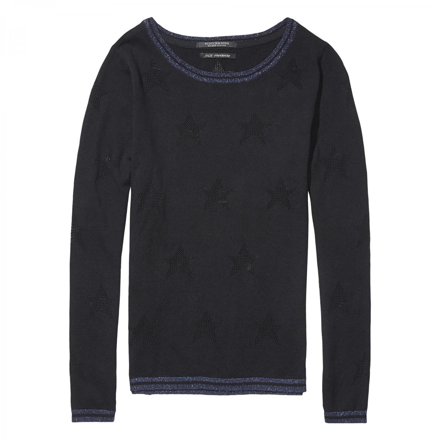 Maison Scotch Damen Pullover Basic Pullover with Rib Details 102206