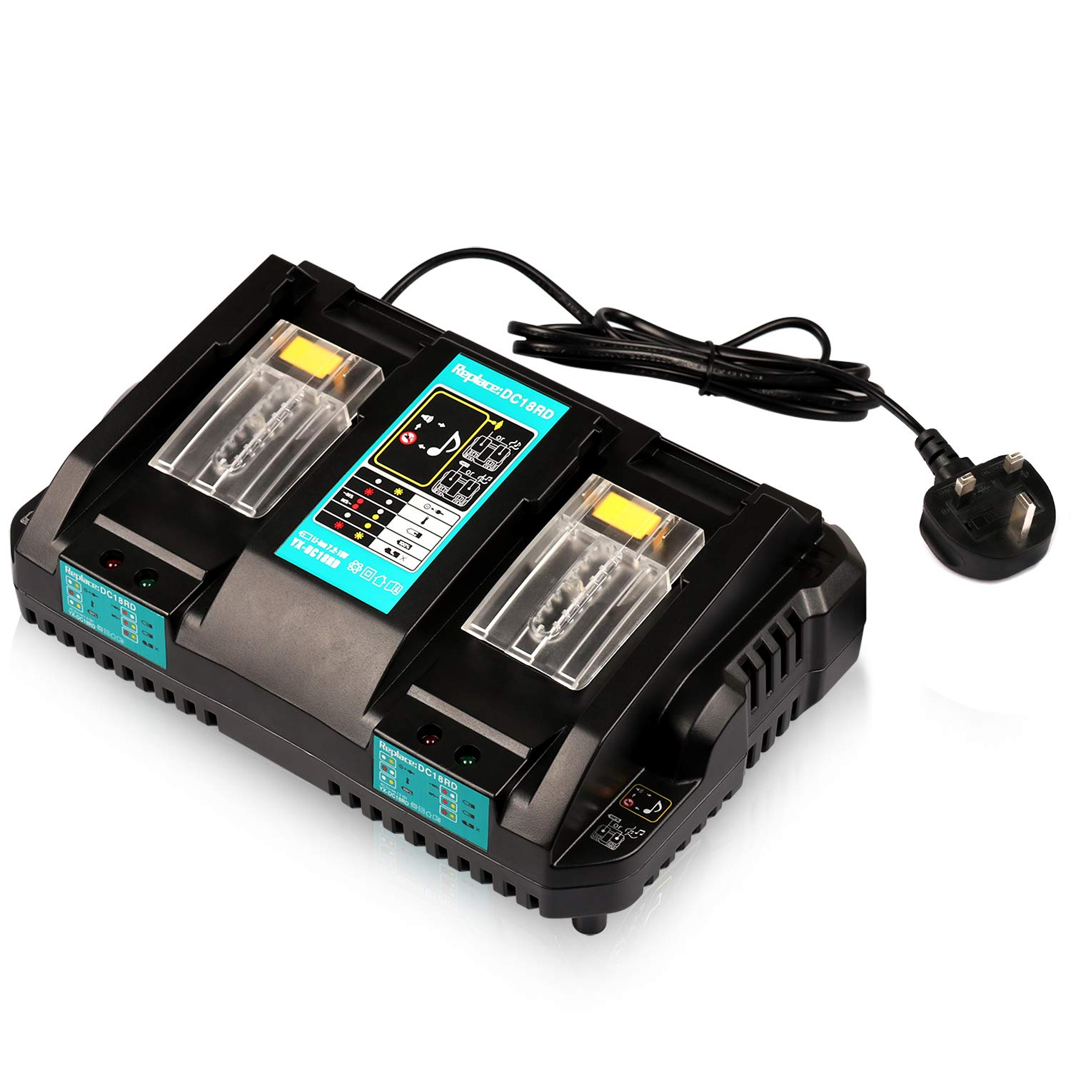 Batteriol Makita 18V Battery Charger DC18RD Dual Ports Rapid Charge 4A 120W for Makita Lithium-Ion Battery BL1830 BL1840 BL1850 BL1850B BL1860 BL1415 BL1430, Replace DC18RC DC18SF DC18RT