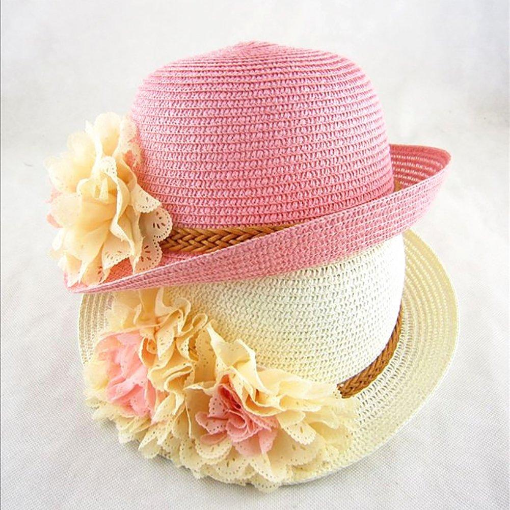Lx10tqy Fashion Spring Summer Flower Wide Brim Cocktail Party Travel Kid Girl Hat Cap Beige