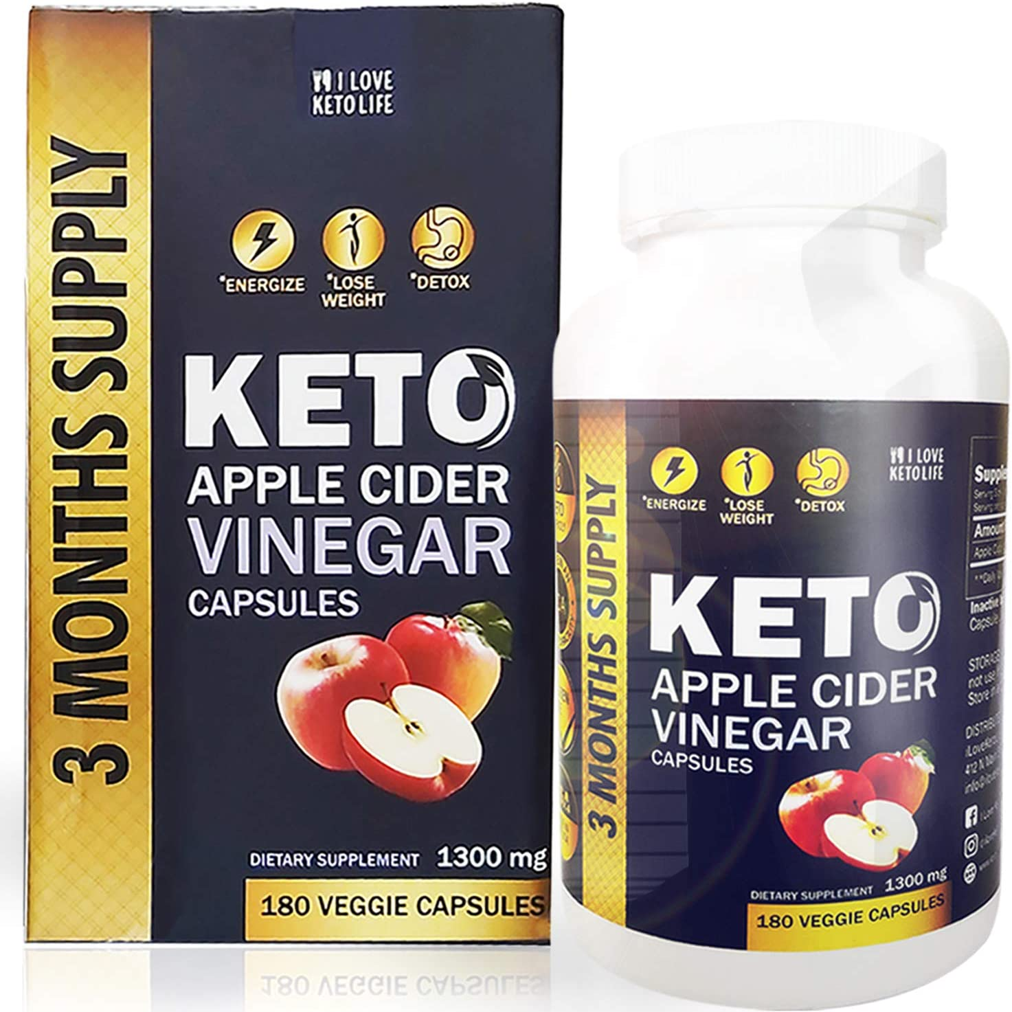 180 Capsules Extra Potent, Pure and Natural Keto Apple Cider Vinegar Capsules with Mother for Weight Loss - Made from Raw Organic ACV   180 Capsules   1300 Milligrams