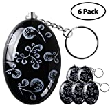 6pcs/Pack Mengde 120 dB Personal Alarm Keychain Emergency Safety Self Defense Keyring Batteries Included Black