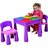 5 in 1 Activity Table & Chairs with Writing Top/Lego/Sand/Water/Storage, Violet
